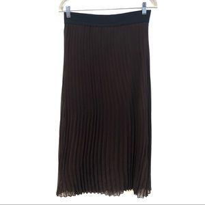 2/$20 Lavish Maxi Pleated Brown Skirt, Size Medium